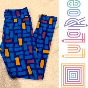 LuLaRoe blue leggings w/ design EUC one size